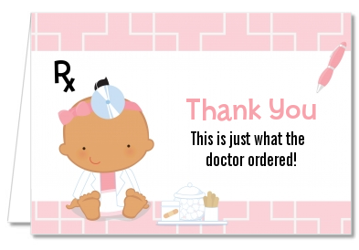 Little Girl Doctor On The Way - Baby Shower Thank You Cards Caucasian