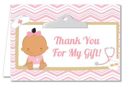 Little Girl Nurse On The Way - Baby Shower Thank You Cards Caucasian