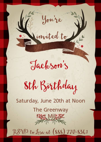 Lumberjack Buffalo Plaid - Birthday Party Invitations
