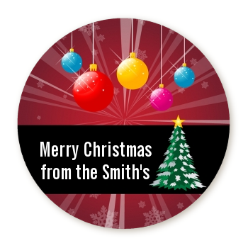 Merry and Bright - Round Personalized Christmas Sticker Labels