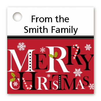 Merry Christmas - Personalized Christmas Card Stock Favor Tags