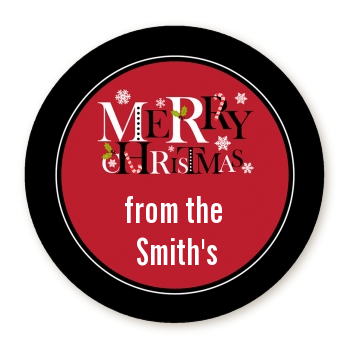 Merry Christmas - Round Personalized Christmas Sticker Labels