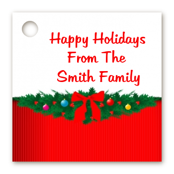 Merry Christmas Wreath - Personalized Christmas Card Stock Favor Tags