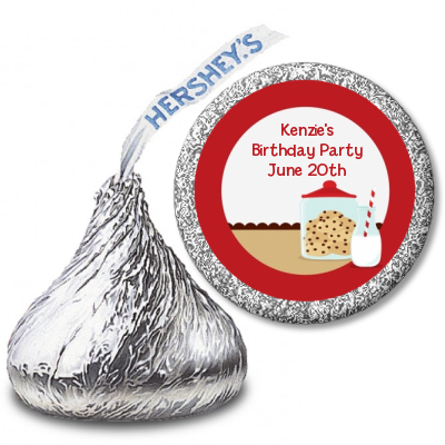 Milk & Cookies - Hershey Kiss Birthday Party Sticker Labels