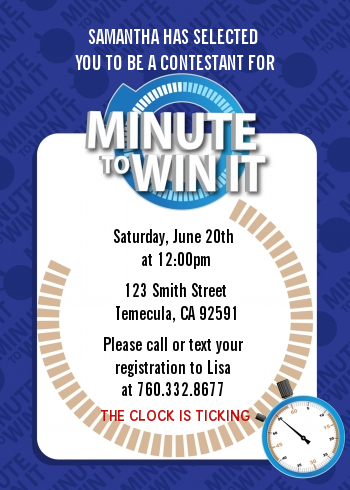 Minute To Win It Inspired - Birthday Party Invitations Option 1