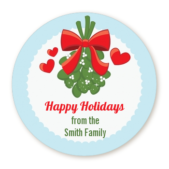 Mistletoe - Round Personalized Christmas Sticker Labels