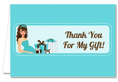 Modern Mommy Crib It's A Boy - Baby Shower Thank You Cards Black Hair A