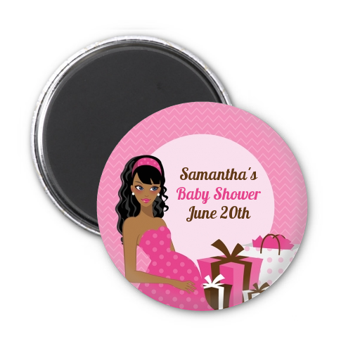 Modern Mommy Crib It's A Girl - Personalized Baby Shower Magnet Favors Black Hair A