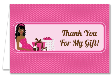 Modern Mommy Crib It's A Girl - Baby Shower Thank You Cards Black Hair A