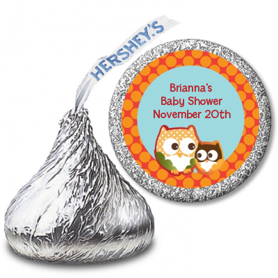 Owl - Fall Theme or Halloween - Hershey Kiss Baby Shower Sticker Labels