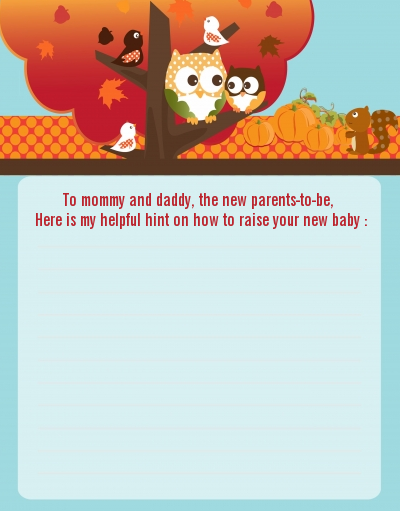 Owl - Fall Theme or Halloween - Baby Shower Notes of Advice