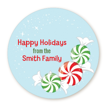 Peppermint Candy - Round Personalized Christmas Sticker Labels