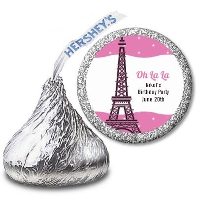 Pink Poodle in Paris - Hershey Kiss Baby Shower Sticker Labels
