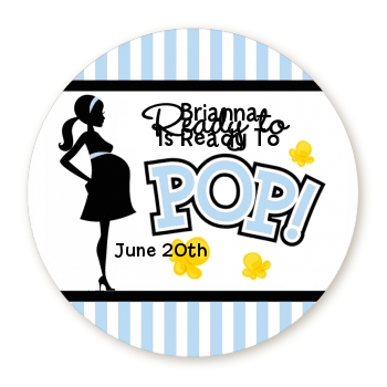 Ready To Pop Blue - Round Personalized Baby Shower Sticker Labels Option 1