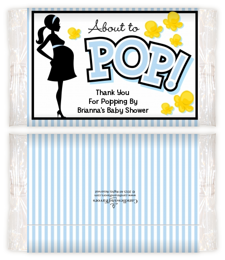 Ready To Pop Blue - Personalized Popcorn Wrapper Baby Shower Favors Option 1