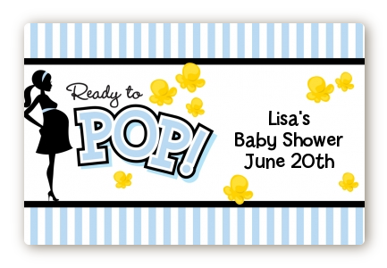 Ready To Pop Blue - Baby Shower Landscape Sticker/Labels