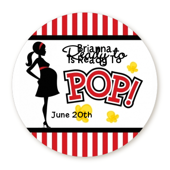 Ready To Pop ® - Round Personalized Baby Shower Sticker Labels Option 1