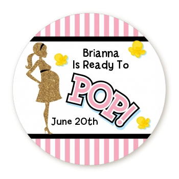 Ready To Pop Pink - Round Personalized Baby Shower Sticker Labels Option 1