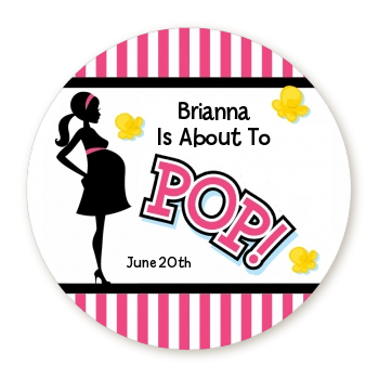 Ready To Pop Pink - Round Personalized Baby Shower Sticker Labels Pink 1