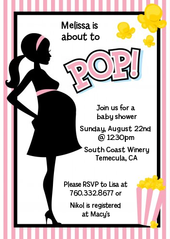 Ready To Pop Pink - Baby Shower Invitations Option 1