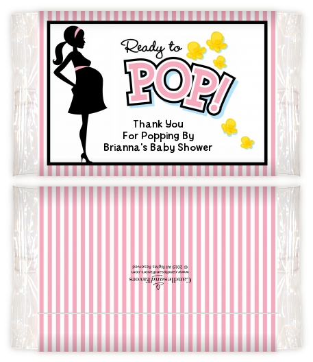 Ready To Pop Pink - Personalized Popcorn Wrapper Baby Shower Favors Pink Option 1
