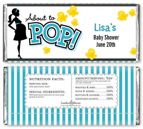 Ready To Pop Teal - Personalized Baby Shower Candy Bar Wrappers Option 1