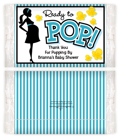 Ready To Pop Teal - Personalized Popcorn Wrapper Baby Shower Favors Option 1