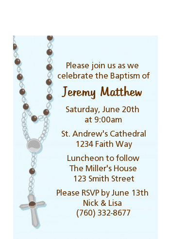 Rosary Beads Blue - Baptism / Christening Petite Invitations