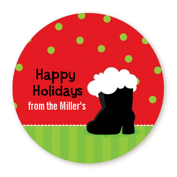 Santa's Boot - Round Personalized Christmas Sticker Labels