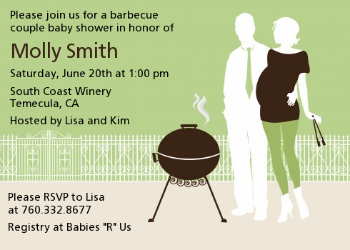 Silhouette Couple BBQ Neutral - Baby Shower Invitations Green