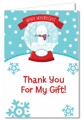 Snow Globe Winter Wonderland - Birthday Party Thank You Cards