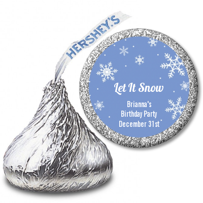 Snowflakes - Hershey Kiss Birthday Party Sticker Labels