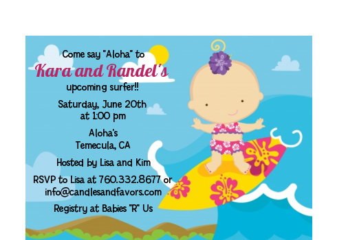 Surf Girl - Baby Shower Petite Invitations Blonde Hair