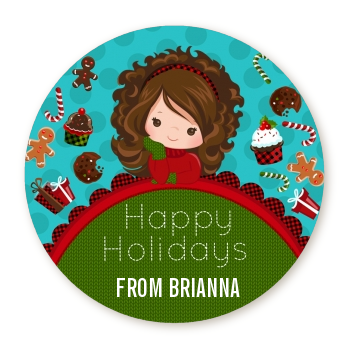 Dreaming of Sweet Treats - Round Personalized Christmas Sticker Labels Option 1