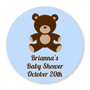 Teddy Bear Blue - Round Personalized Baby Shower Sticker Labels Blue
