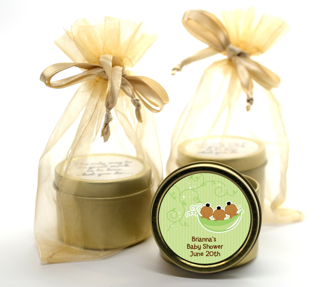 Triplets Three Peas in a Pod African American - Baby Shower Gold Tin Candle Favors Triplet Boys