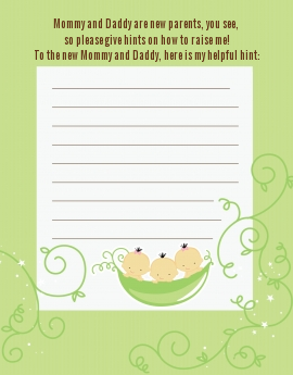Triplets Three Peas in a Pod Asian - Baby Shower Notes of Advice 2 boys 1 girl