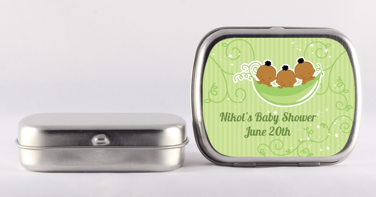 Triplets Three Peas in a Pod African American - Personalized Baby Shower Mint Tins 2 Boys 1 Girl