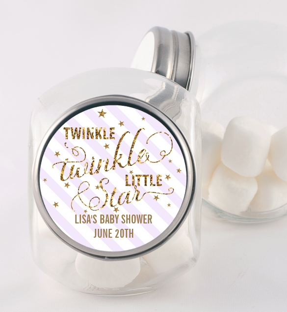 Twinkle Little Star - Personalized Baby Shower Candy Jar Option 1 Yellow