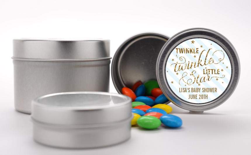 Twinkle Little Star - Custom Baby Shower Favor Tins Option 1 Yellow