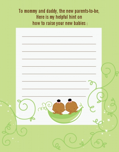 Twins Two Peas in a Pod African American - Baby Shower Notes of Advice 1 Girl 1 Boy