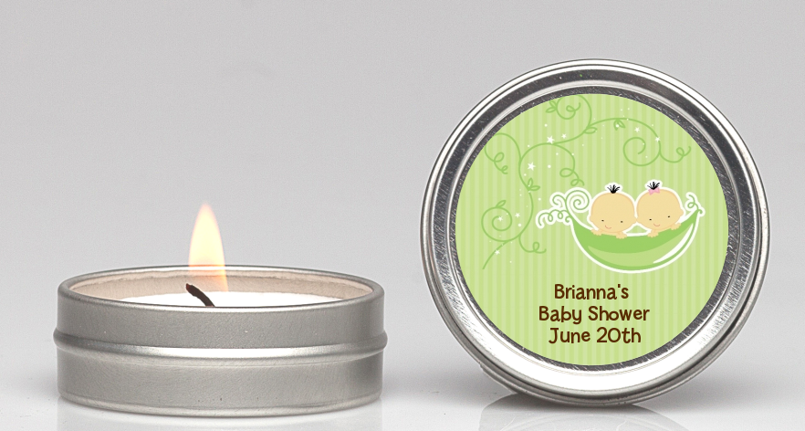 Twins Two Peas in a Pod Asian - Baby Shower Candle Favors 1 Boy 1 Girl