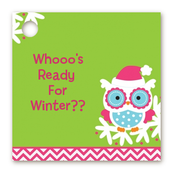 Winter Owl - Personalized Christmas Card Stock Favor Tags