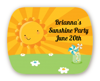 You Are My Sunshine - Personalized Birthday Party Rounded Corner Stickers