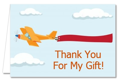 Airplane in the Clouds - Birthday Party Thank You Cards