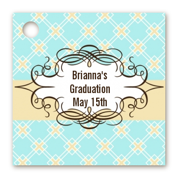 Aqua & Yellow - Personalized Graduation Party Card Stock Favor Tags