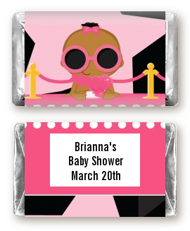 A Star Is Born Hollywood Black|Pink - Personalized Baby Shower Mini Candy Bar Wrappers African American