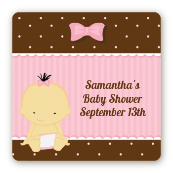 Baby Girl Asian - Square Personalized Baby Shower Sticker Labels