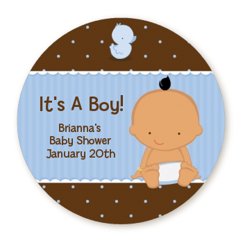 Baby Boy Hispanic - Round Personalized Baby Shower Sticker Labels