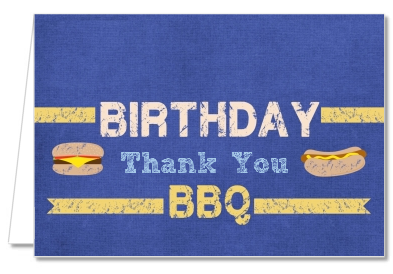 BBQ Hotdogs and Hamburgers - Birthday Party Thank You Cards